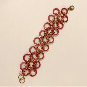 Jewelry - Dark Magenta and Gold-Toned Circles Bracelet
